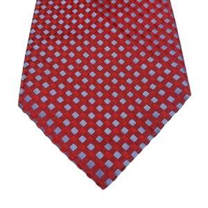 Canali Blue Red Diagonal Geometric Square Silk Tie